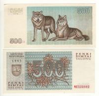 LITHUANIA   500 Talonas   1993   P46  ( Wolves On Back)   UNC - Lithuania