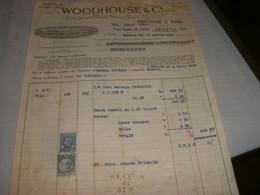 FATTURA 1934 WOODHOUSE & C. SOCIETA' ANONIMA VINICOLA ITALIANA -VINO MARSALA TRINACRIA ,CON MARCHE DA BOLLO - Italia