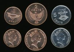 Solomon Islands 1,2,5 Cents 1996-2005, Set Of 3, KM#24,25,26a, AUnc - Solomon Islands