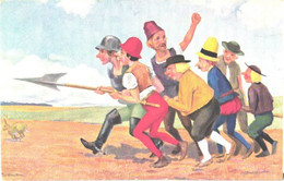 Paul Lothar Müller:Die Sieben Schwaben, Farmers With Pike, Rabbit, Pre 1940 - Autres Illustrateurs