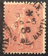 129 ° 33 Ligne De Bastia Marseille  Semeuse 10 C Rose 29/5/1906 Oblitéré - 1903-60 Säerin, Untergrund Schraffiert