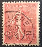 129 ° 36 Ligne N Paquebot Semeuse 10 C Rose 5/4/1904 Oblitéré - 1903-60 Säerin, Untergrund Schraffiert