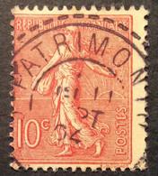 129 ° 37 Corse Patrimonio Tireté Semeuse 10 C Rose 11/9/1904 Oblitéré - 1877-1920: Semi-Moderne