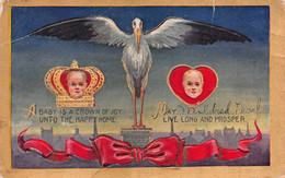 A BABY IS A CROWN OF JOY UNTO THE HAPPY HOME-MAY______ LIVE LONG & PROSPER~1909 BIRTH ANNOUNCEMENT POSTCARD 52283 - Nascite