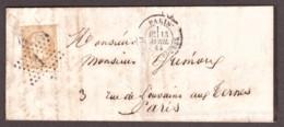 LAC 13 Avril 1865 - Etoile 1 Paris 1530 Place De La Bourse Pour Les Ternes - Napoléon III N° 21 Bistre - 1849-1876: Klassik