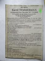 Krantenbericht  Erevoorzitter   PIESTER  DAENSVRIEnDEN  Geb . 1907 Erembodegem   Overl.  Aalst  KAREL  TEMMERMAN - Esquela