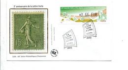 VIGNETTE SALON PHILATELIQUE D'AUTOMNE PARIS 2014 3ANS DE LA LETTRE VERTE - 2010-... Illustrated Franking Labels