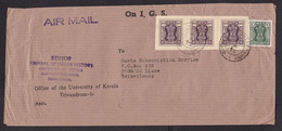 India: Official Airmail Cover To Netherlands, 1982, 4 Service Stamps, 3x Imperforated (minor Damage) - Lettres & Documents