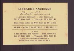 "Carte De Visite "" Librairie Ancienne Laurencier "" Bordeaux - Tarjetas De Visita"