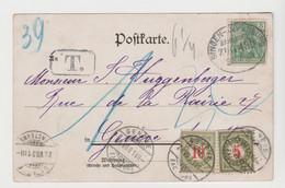 CPA D'Allemagne ( Gruss Aus Konstanz ) Obl. Convoyeur SINGEN / OFFENBURG De 1901, Taxée à Son Arrivée En Suisse - Lettres & Documents