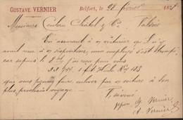 YT 89 Sage CP Précurseur Privée Gustave Vernier à Belfort Illustré En Rouge CAD (T17) Gare De Belfort (66) 28 2 78 - Precursor Cards
