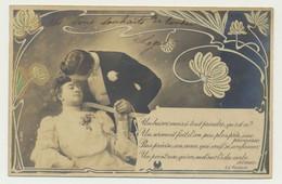 Carte Fantaisie -couple - Amour  Poème D'Edmond Rostand...un Baiser Mais à Tout Prendre, Qu'est Ce ? - Filosofía & Pensadores