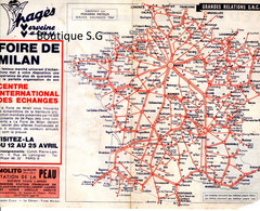 Carte Lignes SNCF Chemin De Fer France International 1964 Service Vacances Horaires Mayeux Plan Ligne - Otros