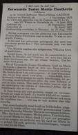 Non, Zuster, Réligieuse MARIE HELEN LACOUR, WERVIK 1870 - HEESTERT 1932 - Devotieprenten