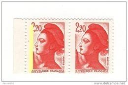 Liberté 2fr20 Rouge YT 2376 Sans Phospho Tenant à Bande Gauche . Voir Scan. Cote YT : 10 € Maury N° 2382I K + L > 59 € - Varietà: 1980-89 Nuovi