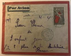 Madagascar - Entier Postal Avec Griffe Taxe De Poste Aérienne En 1945 + Rare Cachet Convoyeur Antsirabe / Tananarive - Poste Aérienne