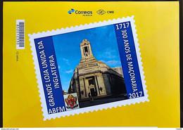 PB 67 Brazil Personalized Stamp Masonic Grand Lodge External Masonry Gummed 2017 Vignette G - Gepersonaliseerde Postzegels