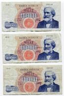 RC 20574 ITALIE - ITALIA LOT DE 3 BILLETS DE 1000 LIRE - 1000 Lire