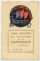 Guerre 14-18.carte Cartonnage Artistique.armistice De 1918.Blason Ville De Paris.Gallieni Gouverneur Militaire De Paris. - Guerre 1914-18