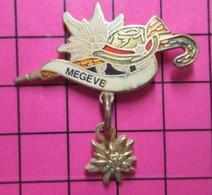 715a Pin's Pins / Beau Et Rare / THEME : VILLES / MEGEVE CHAPEAU EDELWEISS CANNE FERREE Pas Nino ! Par PRESTIFRANCE - Ciudades