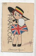 Petite Fille, Chapeau Drapeau Belge, Robe Drapeau Anglais. Signée Gil 1919 - Patriottiche
