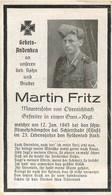 MEMENTO AVIS DE DECES SOLDAT ALLEMAND  MARTIN FRITZ 12/01/1945 - Obituary Notices