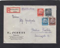 K. SCHOTT,BRIEFMARKEN,STRASSBURG, LETTRE RECOMMANDEE POUR BERLIN-STEGLITZ,1941. - Elzas-Lotharingen