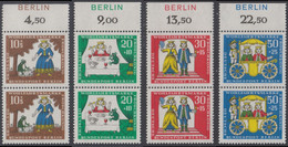 !a! BERLIN 1966 Mi. 295-298 MNH SET Of 4 Vert.PAIRS W/ Top Margins (a02) -Fairy Tales Of Brothers Grimm: Frog King - Ongebruikt