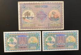1 X 5 And 2 X 1 Sequential Maldives Rufiyaa Notes 1960 - Maldiven