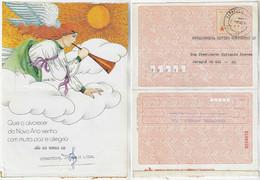 Brazil 1980s Postal Stationery Christmas Angel Playing Trumpet Music Sun Cloud - Natale
