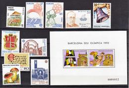 Andorre Espagnol 1986 1987 Années Complètes 177 à 188   Bf Au Lieu Des 186 187  Neuf ** MNH Sin Charmela Cote 14.5 - Neufs