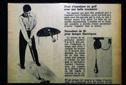 ► INVENTION Jeux D'entrainement Au Golf D'appartement  - Coupure De Presse Ancienne (Encadré Photo) - Apparel, Souvenirs & Other