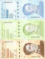 VENEZUELA    Set 10,000 - 20,000 - 50,000 Bolívares    P-New[2]     22.1.2019 (2020)    UNC  [ 10000-20000-50000 ] - Venezuela