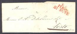 1840 PREFILATELIA LETTERA DA IVREA P.P. IN ROSSO - PER AOSTA - 1. ...-1850 Prefilatelia