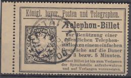 Bayern - 50 Pfg. Telefon-Billet Eichstätt 1908 Randstück - Bayern (Baviera)