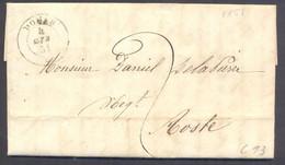 1851 LETTERA DA GRESSONEY - DONAS - AD AOSTA TASSA A CARICO - Sardegna