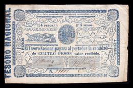 Paraguay 4 Pesos 1865 Pick 24 BC+ F+ - Paraguay