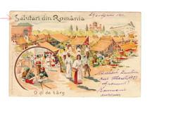 ROMANIA / ROUMANIE / SALUTARI DIN ROMANIA / O DI DE TARG / OLD COLOUR LITHO / 1899 - Rumania