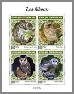 CENTRALAFRICA 2021 MNH Owls Eulen Hiboux M/S - OFFICIAL ISSUE - DHQ2112 - Owls