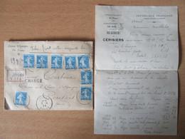 Recommandé Chargé Avec VD 3050 Francs - 8 Timbres Semeuse 25c N°140 - 1924 - Joigny Vers Cerisiers - 1921-1960: Moderne