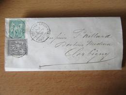 Timbres Sage N°65 Et 66 (Type I) Sur Lettre - Moulins-Engilbert (Nièvre) - Bureau De Passe 2654 Nevers - Novembre 1876 - 1849-1876: Periodo Clásico