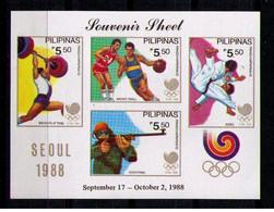 FILIPINAS 1988 - JUEGOS OLIMPICOS DE SEUL '88 - YVERT BLOCK Nº 29** - Tiro (armi)