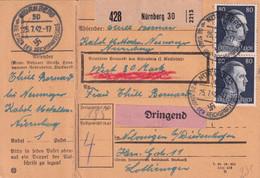 1942 - MOSELLE / REICH - CARTE COLIS POSTAL TRAVAILLEUR LORRAIN (OBLIGATOIRE) USINE CABLES De NÜRNBERG => THIONVILLE - Guerra Del 1939-45