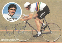 CARTE CYCLISME ALAIN BONDUE SIGNEE TEAM LA REDOUTE 1982 - Cycling