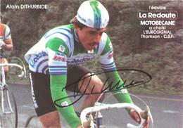 CARTE CYCLISME ALAIN DITHURBIDE SIGNEE TEAM LA REDOUTE 1982 - Cycling