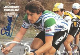 CARTE CYCLISME PAUL SHERWEN SIGNEE TEAM LA REDOUTE 1982 - Cycling