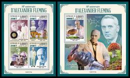 DJIBOUTI 2021 - A. Fleming, Mushrooms, M/S + S/S. Official Issue [DJB210116] - Mushrooms