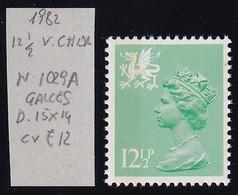 GRAN BRETAGNA 1982 REGIONALI GALLES D.15X14  12 1/2p UNIF. 1029a UM - Wales