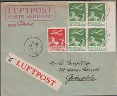 1925. DANMARK. Air Mail 4-block 10 øre + 25 øre On Cover From KØBENHAVN LUFTPOST 15. ... (Michel 143+) - JF416430 - Airmail