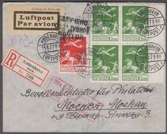 1927. DANMARK. Air Mail 4-block 10 øre + 25 øre On Reg-cover From KØBENHAVN LUFTPOST ... (Michel 143+) - JF416431 - Airmail